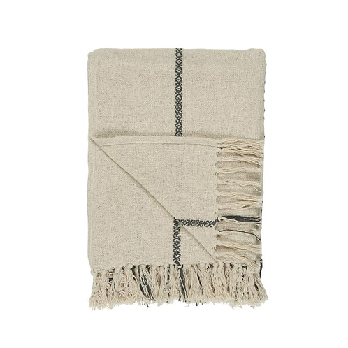 Woven Cream Throw Black Stripe