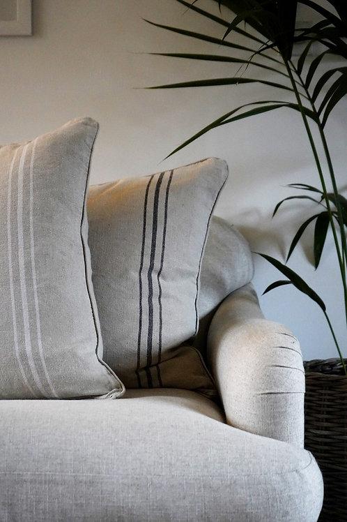 Natural Linen Cushion White Stripe
