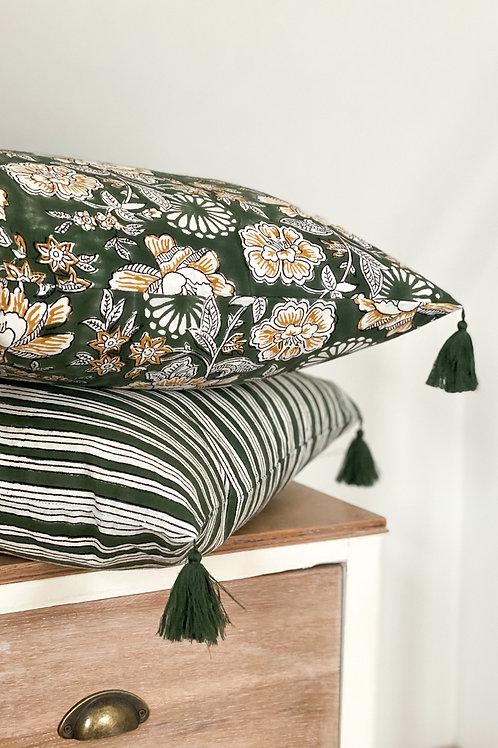 Green Stripe Hand Block Printed Cushion