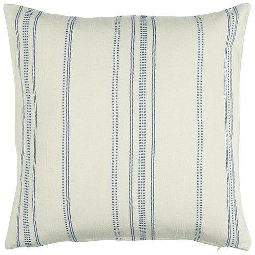 Textured Woven Cream and Blue Cushion