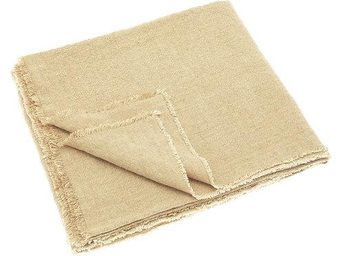 Linen Blend Fringed Throw Sand