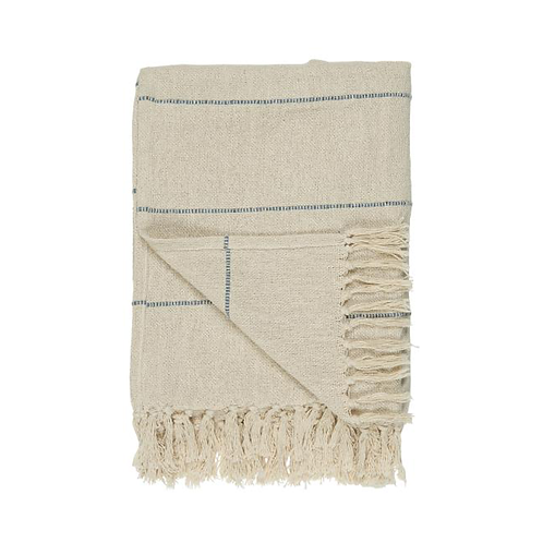 Woven Cream Throw Blue Stripe