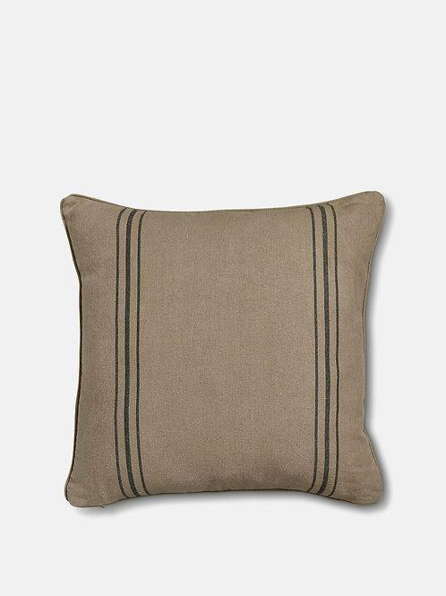 Natural Linen Cushion Black Stripe