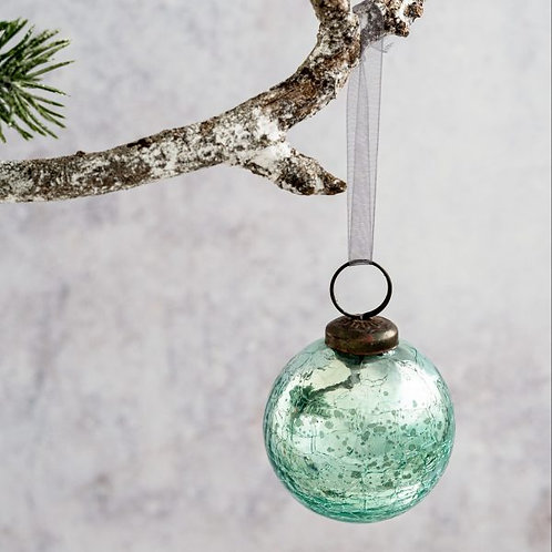 Mint Green Crackle Glass Bauble