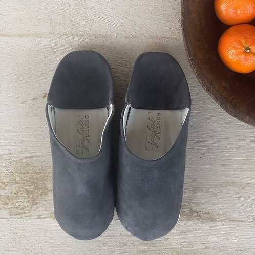 Moroccan Leather Babouche Charcoal Suede