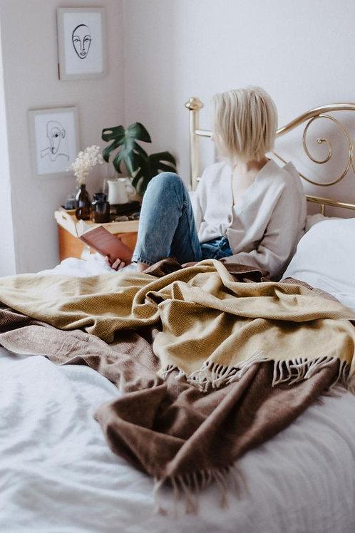 Recycled Wool Blanket Mustard Herringbone