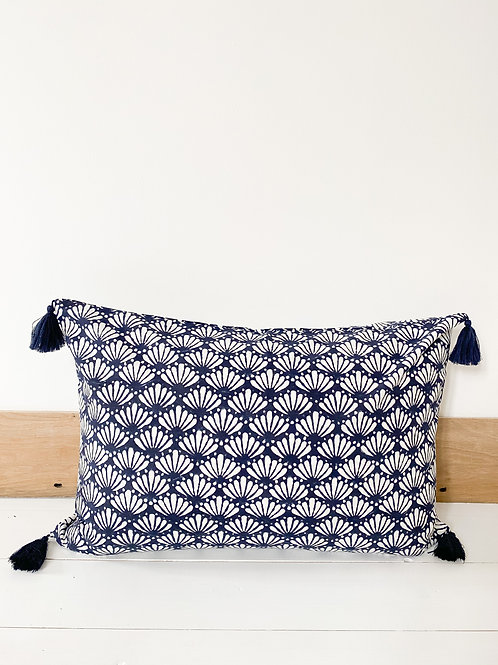 Navy Lotus Hand Block Printed Cushion