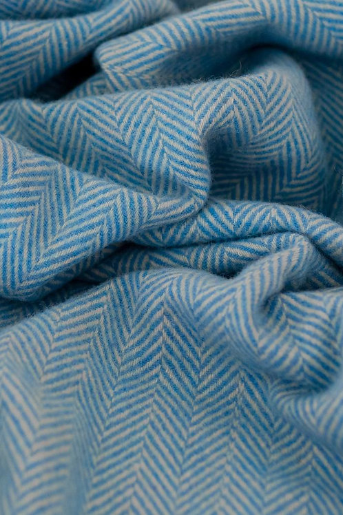 Recycled Wool Blanket Sky Blue Herringbone
