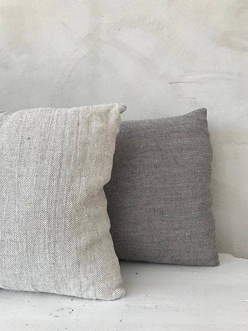 Linen Herringbone Cushion Natural Taupe