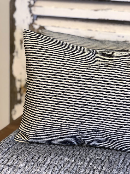 Black and White Ticking Stripe Cushion