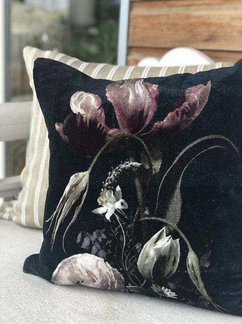 Velvet Vintage Floral Cushion