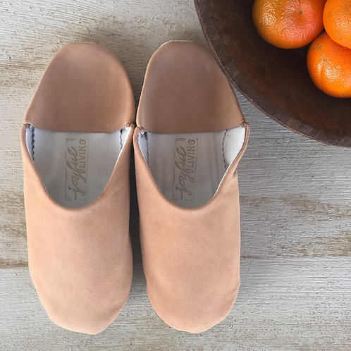 Moroccan Leather Babouche Peach Suede
