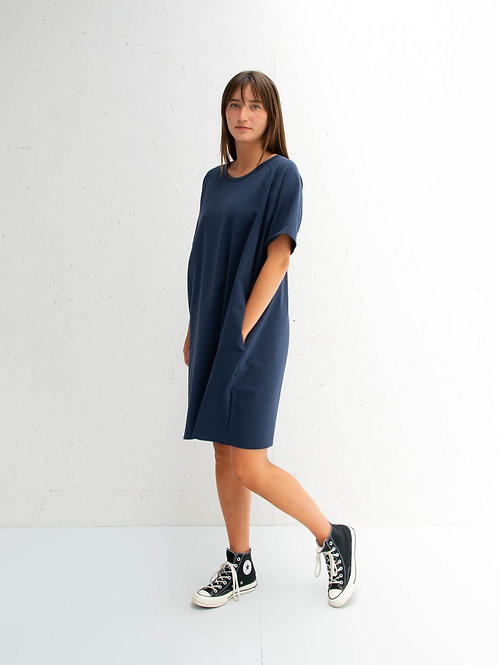 Loose Short Sleeve Dress Navy