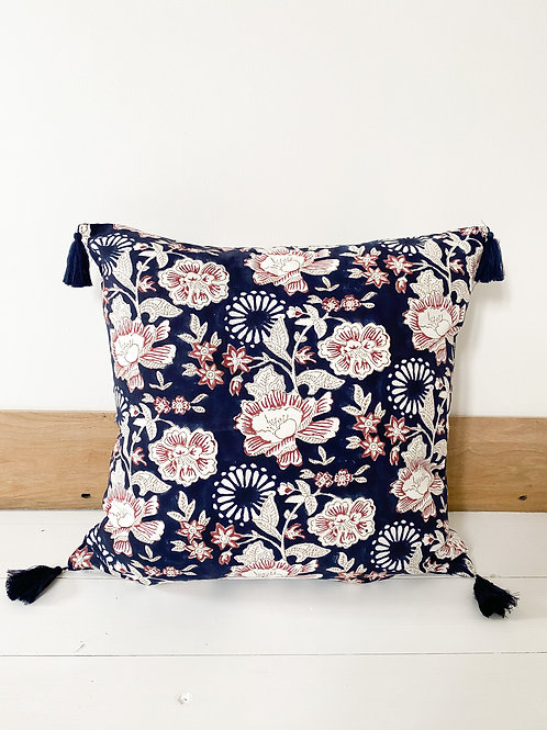 Navy Floral Hand Block Printed Cushion