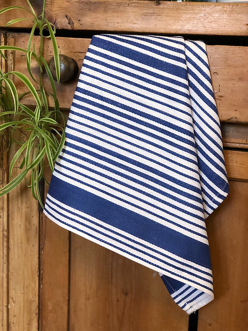 Cotton Tea Towel Blue Stripe
