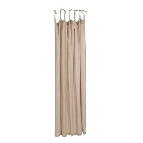 Cotton Tie Top Curtain Panel Nude Pink