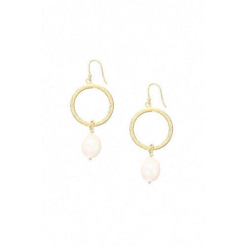 Margot Hoop Pearl Earrings Freshwater Pearl