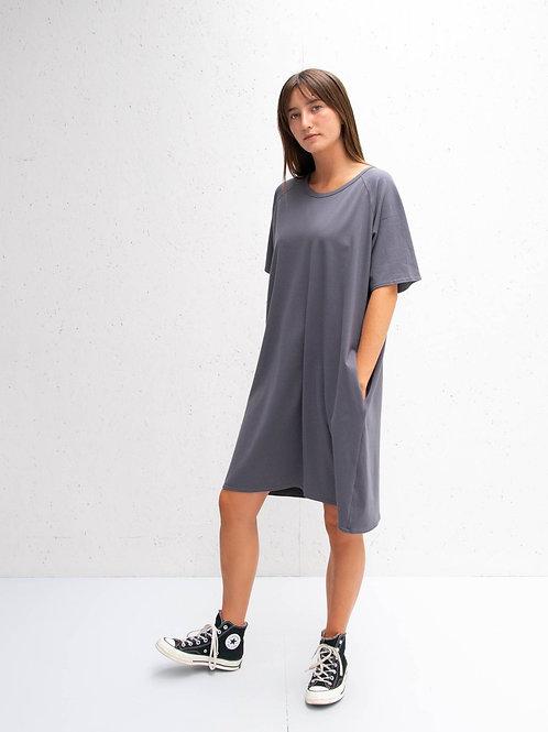 Loose Short Sleeve Dress Charcoal