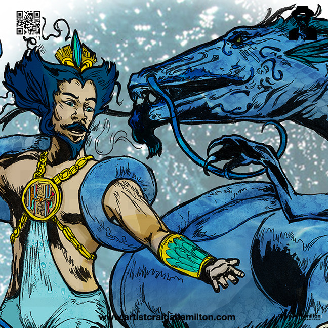 Neptunian Prince Kami no Ōwatatsumi Ryujin and His Maidens