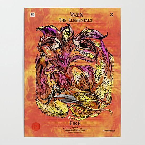 """Suzaku, The Vermillion Sparrow of The South"" Signature Series Original Art Poster"