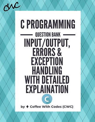 C Programming Input/Output, Errors & Exception Handling Aptitude Question Bank
