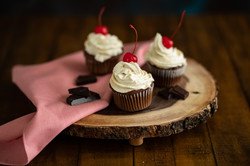 Chocolate cupcakes with cream
