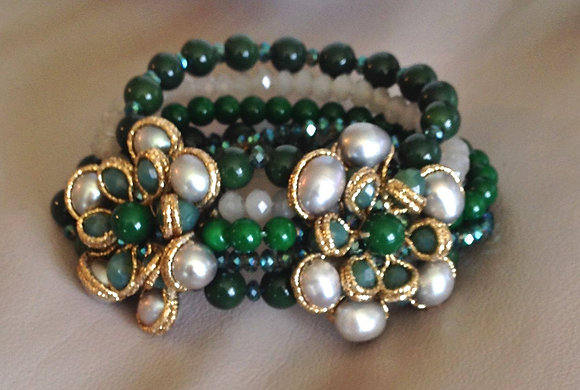 Jade and Pearl Bracelet