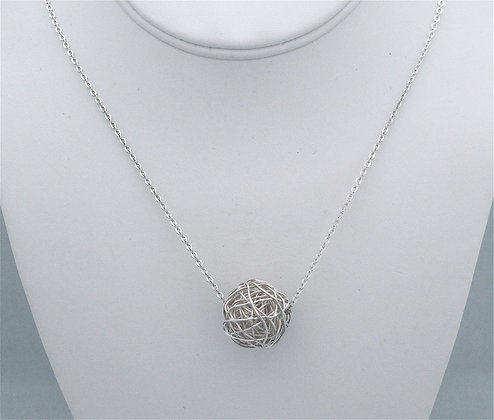 Sterling Mesh Ball Necklace