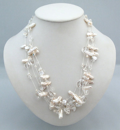 Keishi Pearl Floating Necklace