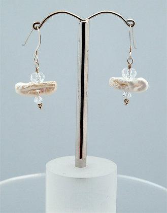 Sterling Bar Pearl Earrings