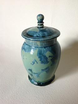 blue/green lidded jar
