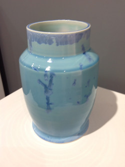 Crystalline glazed vase form
