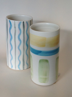 hand thrown porcelain with painted surfa