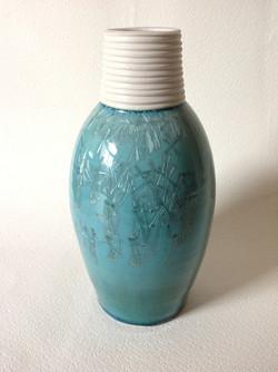 blue ribbed neck vessel