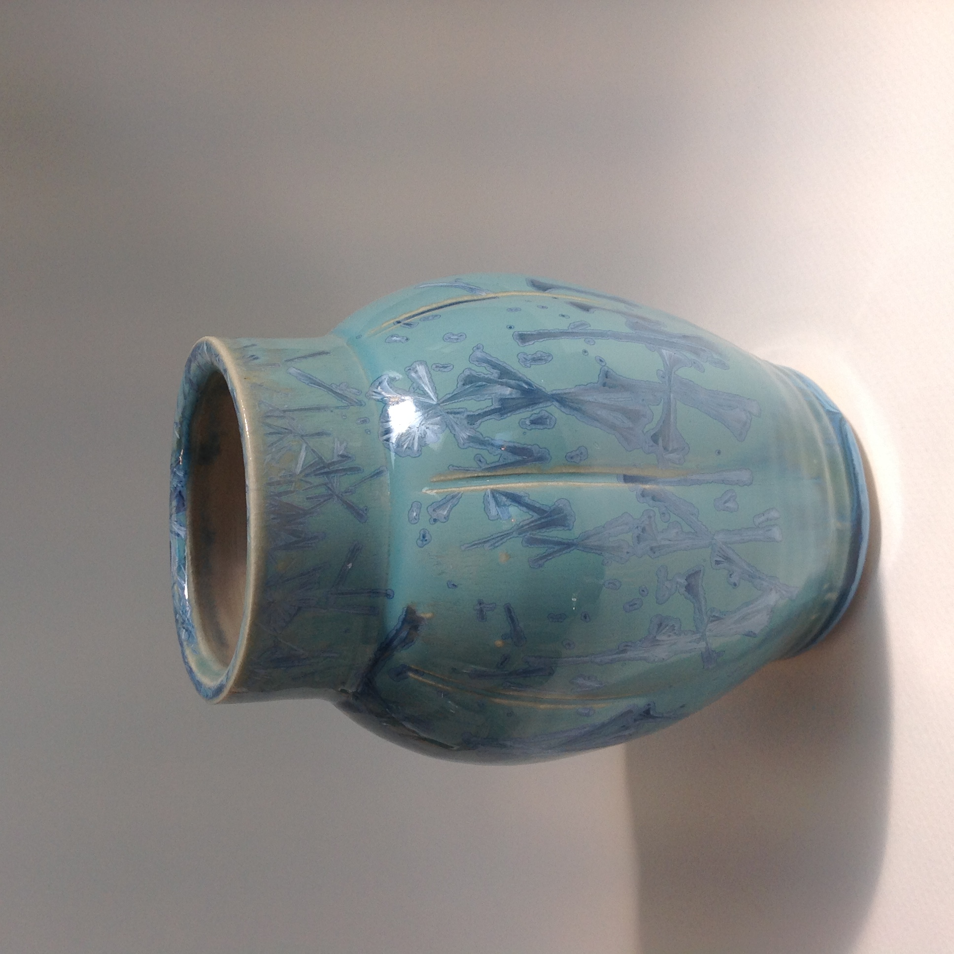 blue crystalline glazed fluted vase