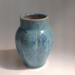 blue crystalline glazed fluted vase