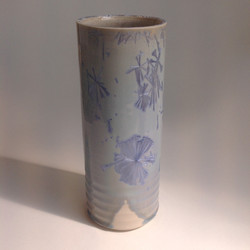 grey/blue crystalline glazed cylinde