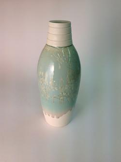 grey blue crystalline glazed form