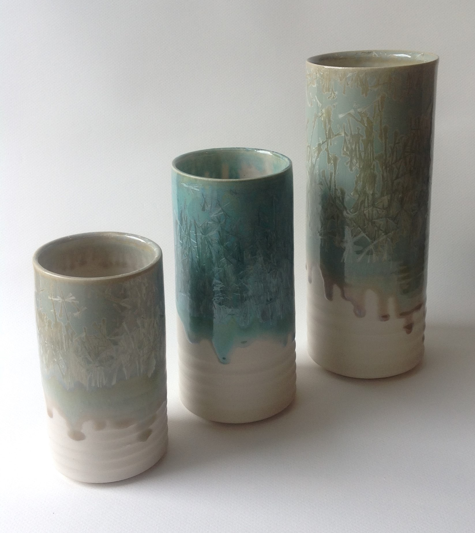 Crystalline glazed vase forms