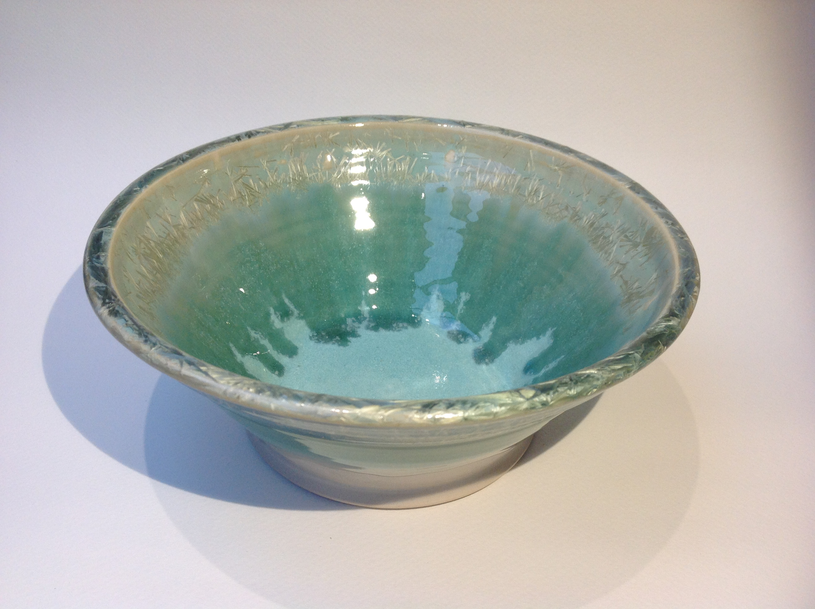 Large crystalline glazed bowl