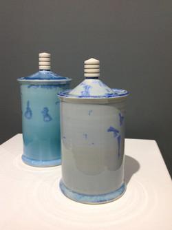 Crystalline glazed lidded jars