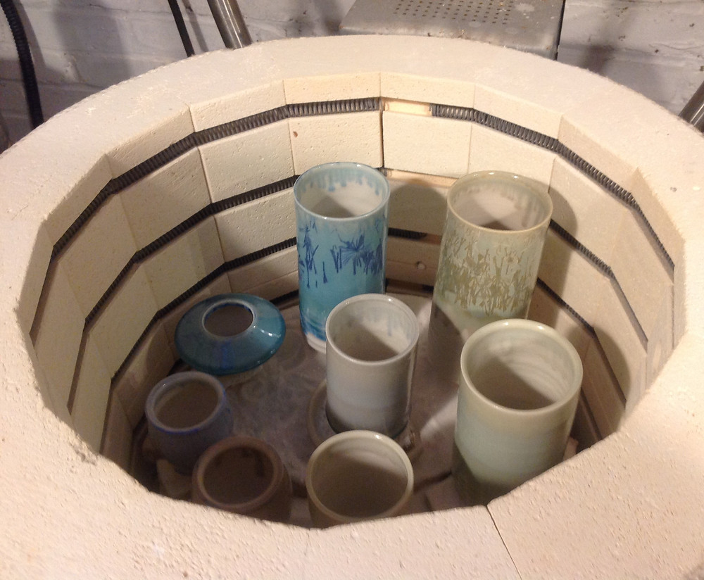 Always exciting (and slightly fraught). Will the glaze work out? Will it run off the pot on to the kiln shelf? Here's the latest fiiring, mostly test pieces.