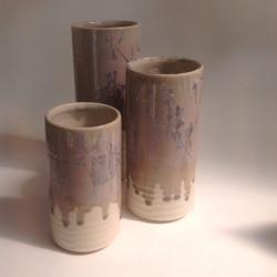 lilac crystalline glazed cylinders