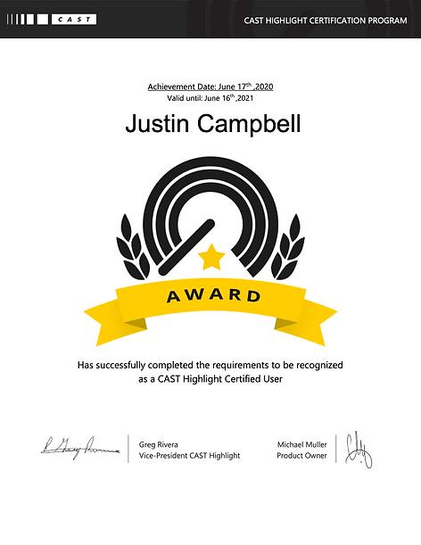 CAST-Highlight-Certification Justin Camp