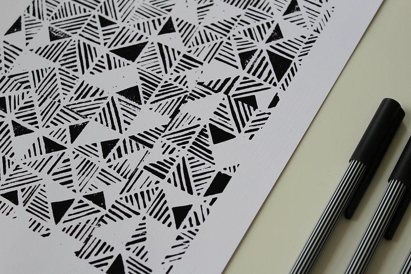 TRIANGLES | Linocut Print