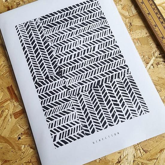 DIRECTION | Linocut Print