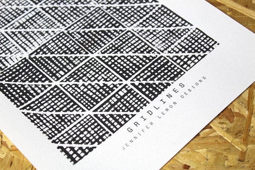 GRAPHLINES   Linocut Print