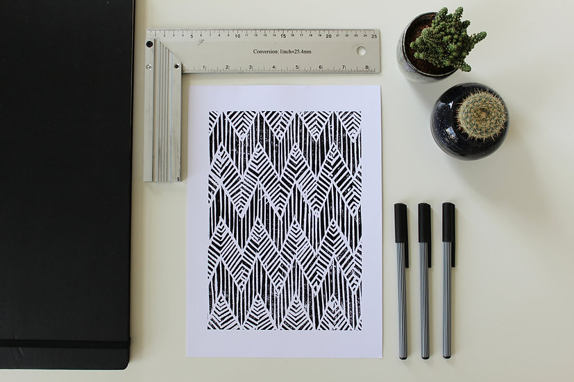 CHEVRON | Linocut Print