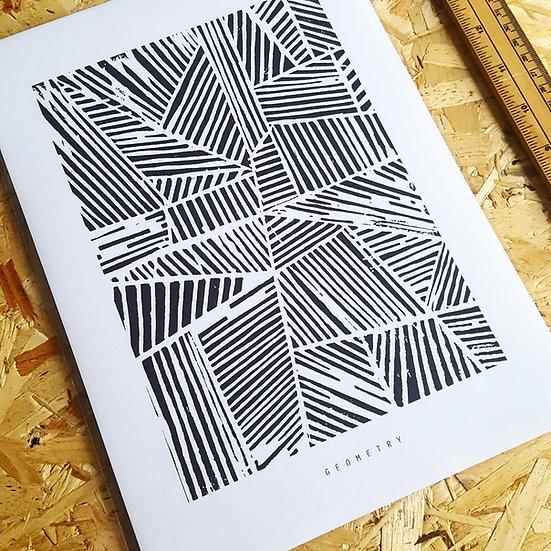 GEOMETRY   Linocut Print