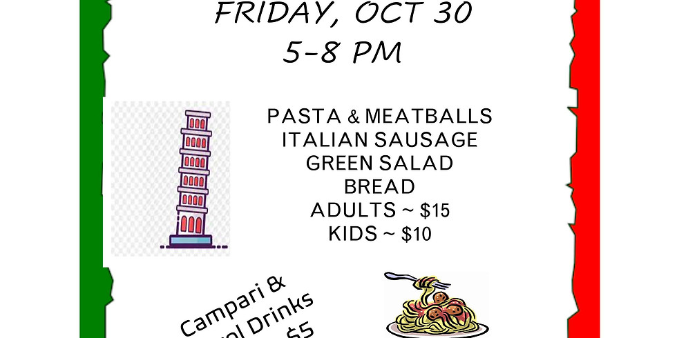 Friday Italian Night: Pasta with meatballs, grilled sausage, green salad & bread .